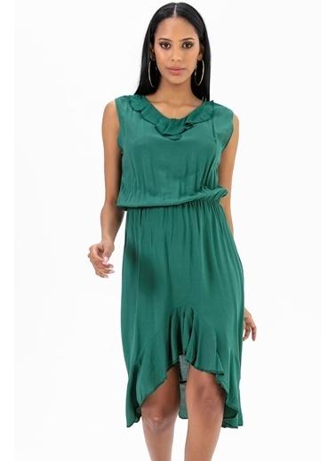 Emjey Eteği Simetrik Elbise Yeşil